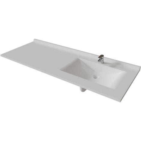 Plan vasque RÉSIPLAN - 151 cm avec vasque déportée à droite