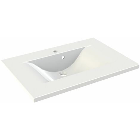 Plan vasque simple en polybéton 80 cm WAVE