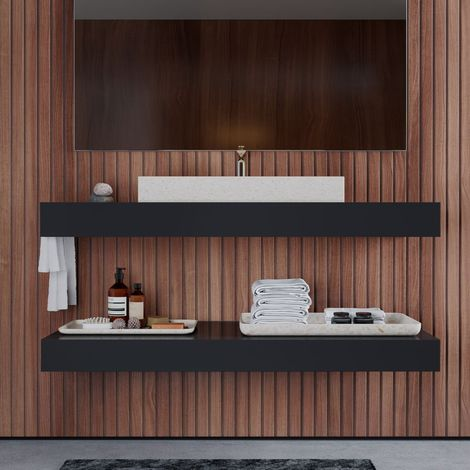 Plan vasque suspendu + étagère 120 cm anthracite, Futura - Anthracite