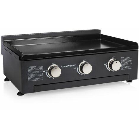 Plancha à gaz Campart Travel BA-8453 Vilamoura – 3 brûleurs – Plaque de cuisson en fonte