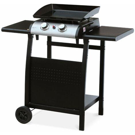 Plancha au gaz 2 brûleurs sur chariot - Porthos - 5kW, plancha à gaz avec desserte , cuisine extérieure, plaque émaillée, inox, barbecue