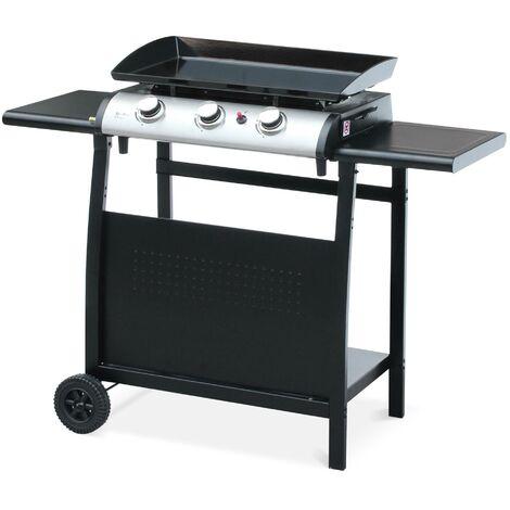 Plancha au gaz 3 brûleurs sur chariot - Porthos - 7.55kW, plancha à gaz avec desserte , cuisine extérieure, plaque émaillée, inox, barbecue