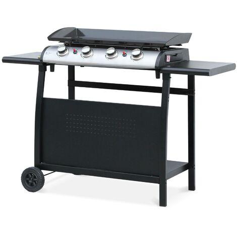 Plancha au gaz 4 brûleurs sur chariot - Porthos - 10kW, plancha à gaz avec desserte , cuisine extérieure, plaque émaillée, inox, barbecue