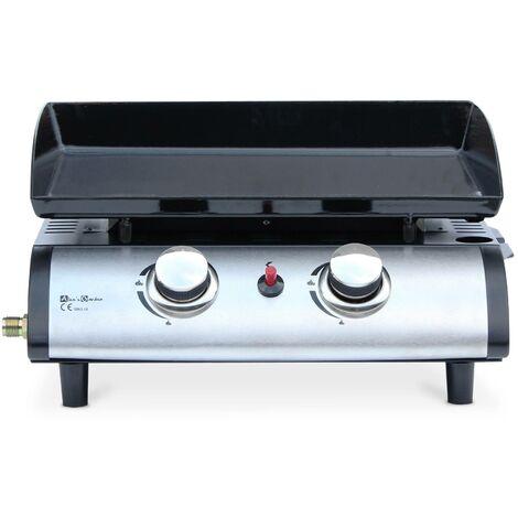Plancha au gaz Porthos 2 brûleurs 5 kW barbecue cuisine extérieure plaque émaillée inox
