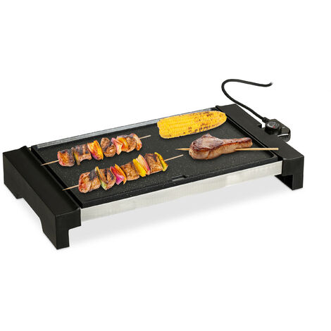Plancha Cocina, Amplia Superficie, Grill Eléctrico 1500 W, Parrilla para Asar, Aluminio, 42 x 27 cm, Negro