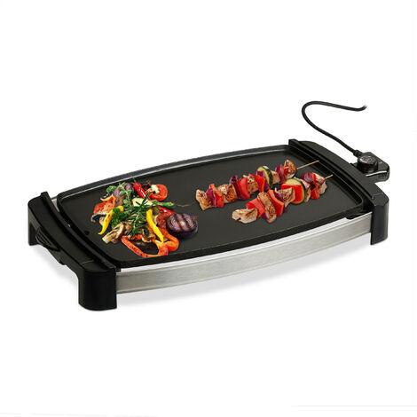 Plancha Cocina, Grill Eléctrico de 2000 W, Parrilla para Asar, Antiadherente, Aluminio, 45 x 30 cm, Negro