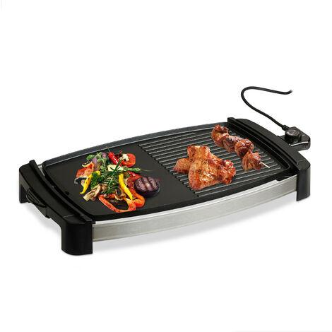 Plancha Cocina, Lisa y con Rayas, Grill Eléctrico de 2000 W, Parrilla para Asar, Aluminio, 45 x 30 cm, Negro