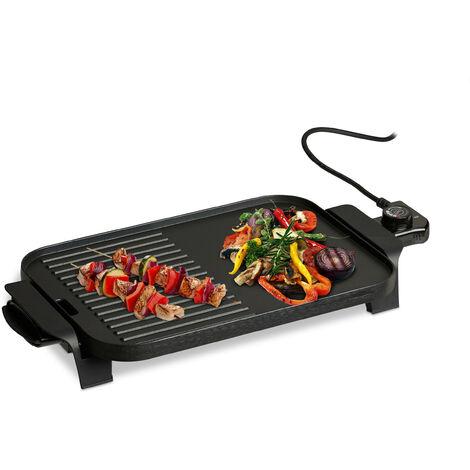 Plancha Cocina Pequeña, Lisa-Rayas, Grill Eléctrico 1500 W, Parrilla para Asar, Aluminio, 38 x 26 cm, Negro