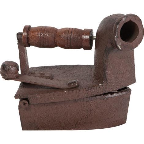 Plancha de chimenea de hierro fundido acabado con efecto óxido envejecido con mango de madera Made in Italy