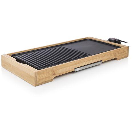 Plancha électrique de table en bambou Cuisto XL - 2000W - 51 x 25,4 cm - Noir