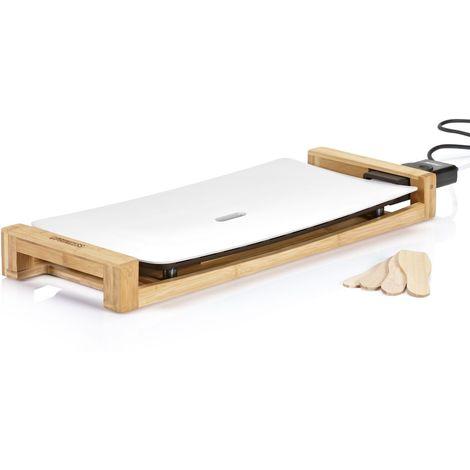 Plancha électrique en aluminium et bambou Design - Thermostat réglable - 50 x 25 cm - Blanc