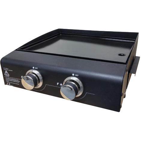 Plancha gaz 2 brûleurs Friodis - Surface de cuisson 45,5 x 36,5 cm - Noir