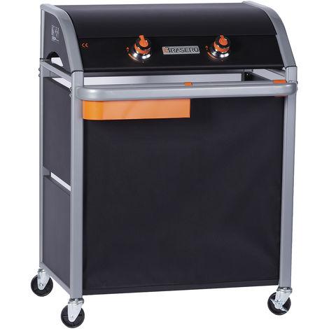 plancha gaz 4200w plaque acier émaillée 64x29,5cm avec chariot - 860.0010 - favex