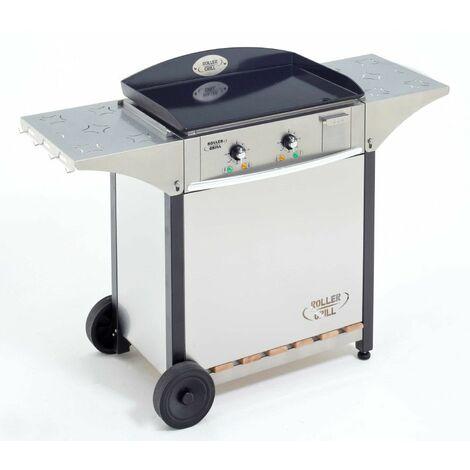 plancha gaz 5500w plaque fonte émaillée 60x40cm avec chariot - clg600 - roller grill