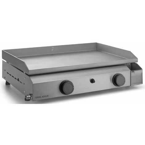 plancha gaz 6400w plaque inox 59.5x39.5cm - base g60i - forge adour