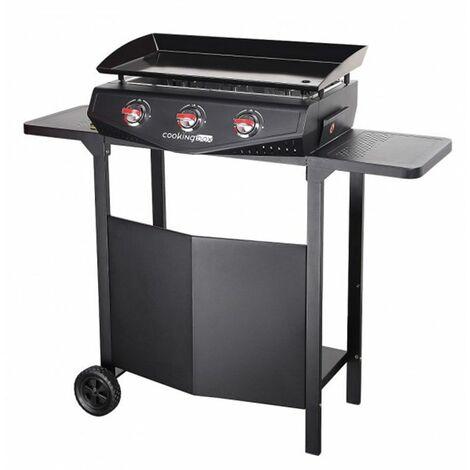 plancha gaz 7500w plaque acier email 65.7x34cm avec chariot - 973.4007 - cooking box