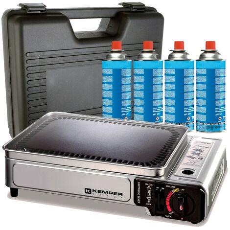 Plancha gaz portable 2300W Kemper plaque anti adhésive + 4 cartouches gaz camping + Valise de transport