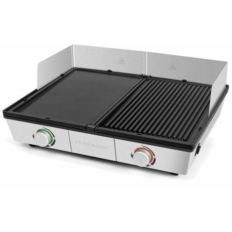 plancha gril électrique 2200w 43x30,5cm - qpl800 - riviera & bar