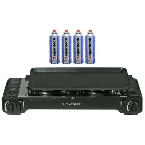 Plancha grill + Réchaud Gaz 2 feux 4400W FIVESTAR 2en1 Portable + 4 Cartouches 227gr Mallette
