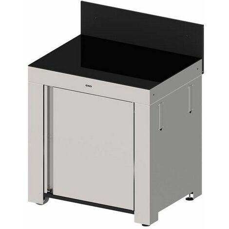 plancha module cuisine d'extérieur inox et crédence noire - mod4101 - eno