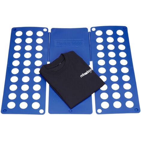 Planche à plier le linge 2ème génération plie chemise plieuse vêtements format A4 HxlxP 0,5 x 70,5 x 59 cm, bleu