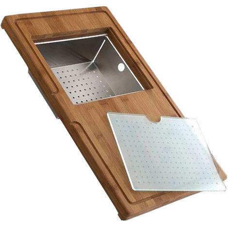 Planche complète en bambou avec vide-sauce inox et planche en verre - L 540 x l 320 x P 30 mm - Aquatop