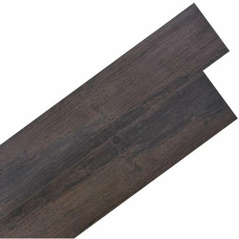 Planche de plancher PVC autoadhesif 5,02 m2 Marron fonce