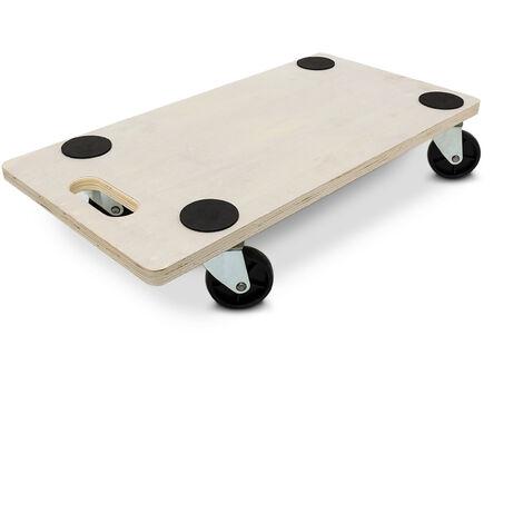 Planche de transport à roulettes support roulant chariot transport à roulettes 200 kg maximum système antiblocage déménagement, bois clair beige