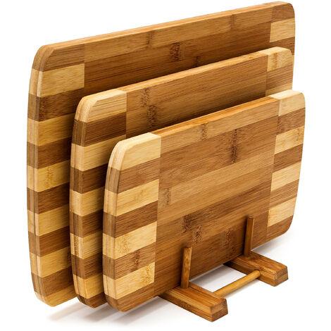 Planches à découper Set de 3 pièces avec support en bois de Bambou naturel écologique rayé design moderne et pratique, nature