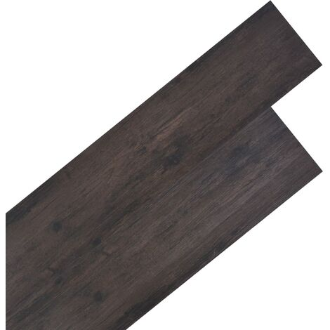 Planches de plancher PVC 4,46 m² 3 mm Marron foncé