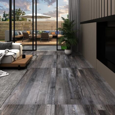 Planches de plancher PVC 5,26 m² 2 mm Bois industriel