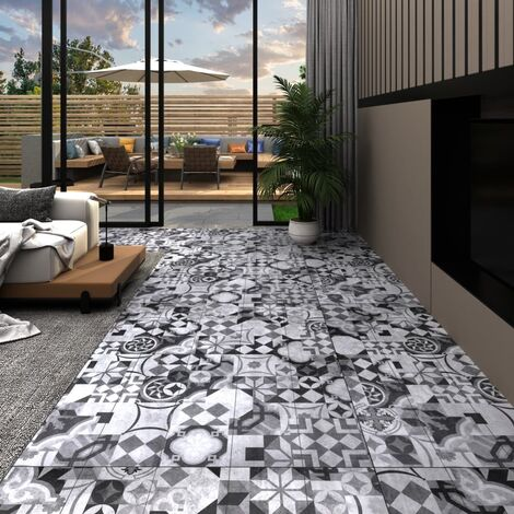 Planches de plancher PVC 5,26 m² 2 mm Motif de gris