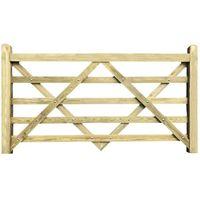 Planed Timber Wooden 5 Bar Gate - Par Entrance Driveway Garden Gates 11ft