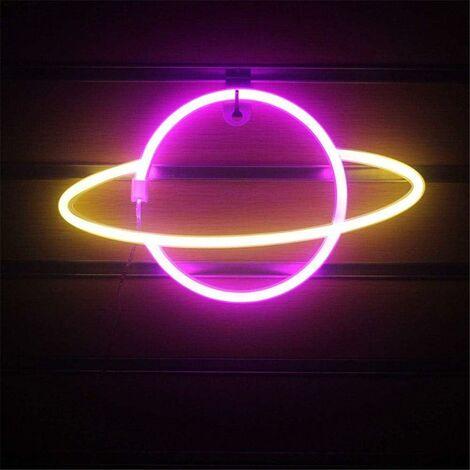 Planet Neon Light LED Signs Décoration Murale, Planet Neon Signs LED Neon Wall Sign Rose Neon Lights USB/Batterie Suspendus Néon Light, pour La Maison, Bar, Fête De Fête