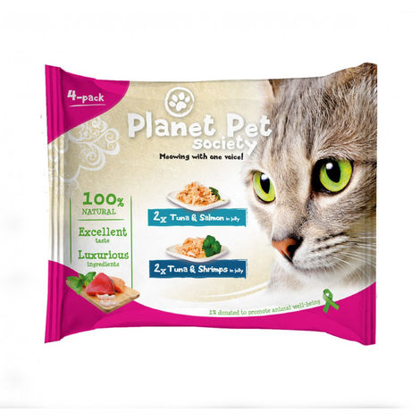 Planet Pet Gat Pouch Pack Atun,Salmon,Calam 4x50g