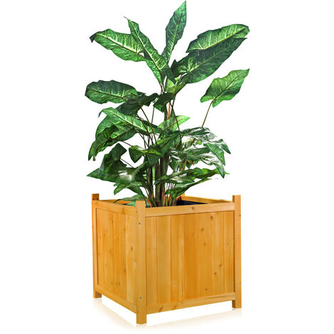 plant box flower trough flower pot garden wood planter angular