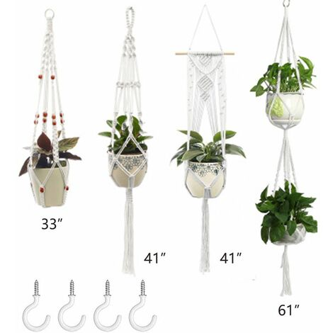 Plant Hangers Set of 4 Indoor Wall Hanging Planter Basket Decorative Flower Pot Holder with 4 Hooks for Indoor Outdoor Home Decor Gift Box 1+4