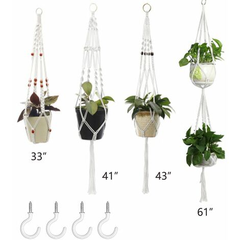 Plant Hangers Set of 4 Indoor Wall Hanging Planter Basket Decorative Flower Pot Holder with 4 Hooks for Indoor Outdoor Home Decor Gift Box 2+4