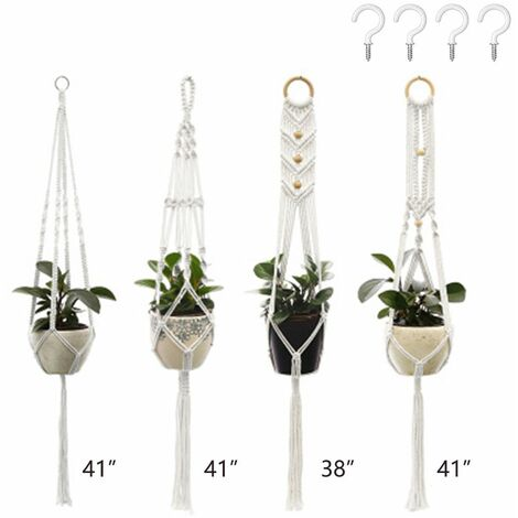 Plant Hangers Set of 4 Indoor Wall Hanging Planter Basket Decorative Flower Pot Holder with 4 Hooks for Indoor Outdoor Home Decor Gift Box 3+4