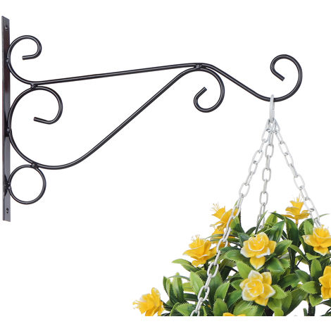 Plant Hanging Hooks Decorative Iron Wall Hooks Plant Hanging Hangers, Black, Small