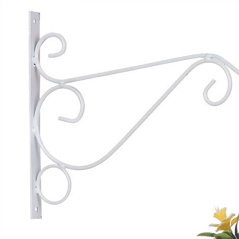 Plant Hanging Hooks Decorative Iron Wall Hooks Plant Hanging Hangers, White, Large