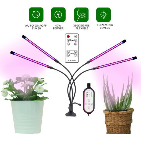 """main image of """"Plant Lamp, 80 LEDs 360 ° Growth Lamp Horticultural Lighting With, 4 Head Plant Lamp Full Spectrum Growth Lamp With AUTO - ON / OFF 4H / 8H / 12H Timing"""""""