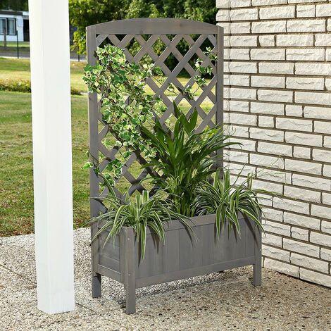 Plant planter with gray trellis