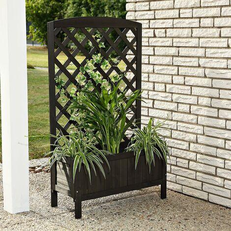 Plant planter with wooden trellis - black