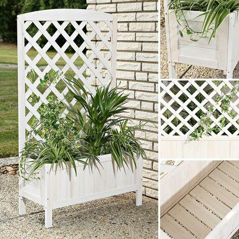 Plant planter with wooden trellis - white