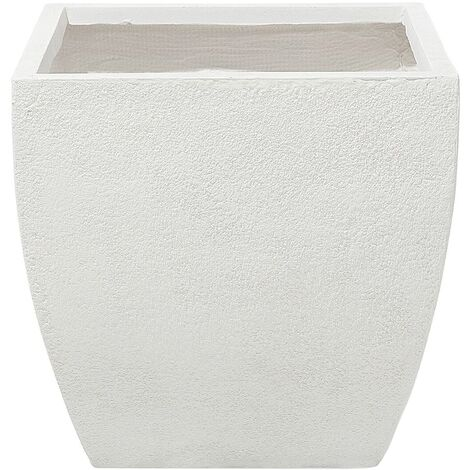 Plant Pot Fibre Clay White 46 x 46 x 44 cm ORICOS