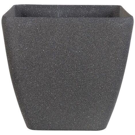 Plant Pot Grey Stone Mixture Flower Pot Square Outdoor Indoor 34 x 34 cm Zeli