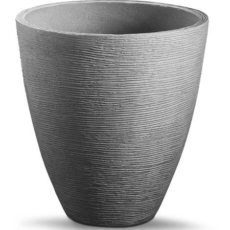 "main image of ""Plant Pot Large Round Flower Pot Box Patio Terrace Flower Box Black Grey 42cm"""