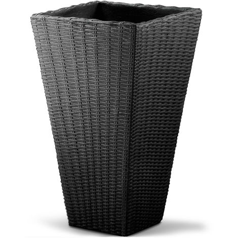 Plant Pot Large Wicker Planters Balcony Flowers Plants Box 70cm Grey Brown Pot