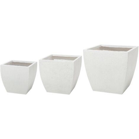 Plant Pot Set Fibre Clay White ORICOS